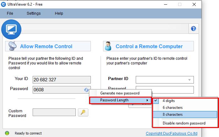 Cách thiết lập và cài đặt mật khẩu trên ultraviewer