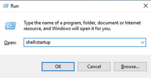 Sử dụng lệnh shell:startup để mở tính năng Statup