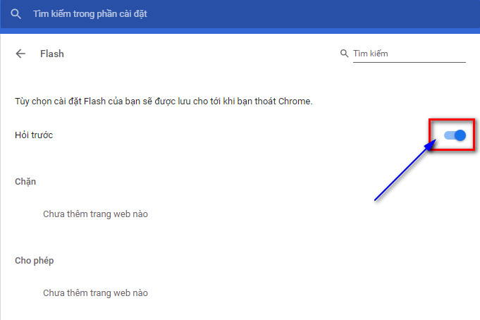 Cho phép Chrome chạy flash player