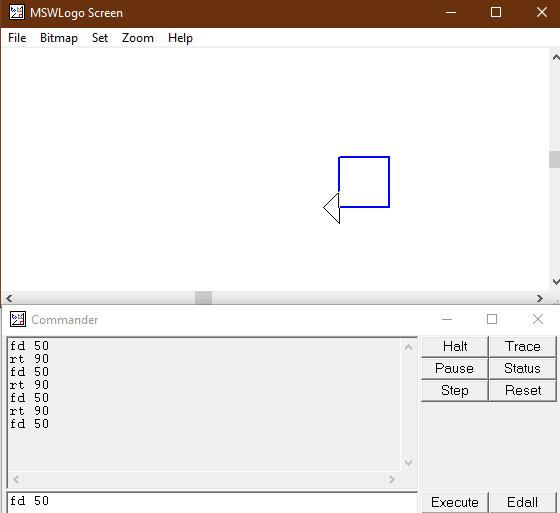 Cách vẽ hình vuông trong phần mềm logo lớp 5