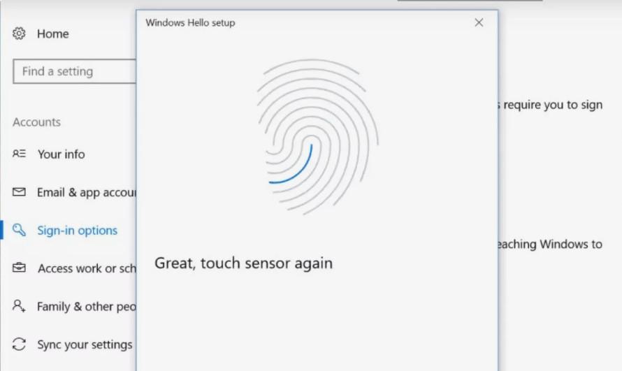 Chọn bất kỳ ngón tay nào để quét và thiết lập mật khẩu