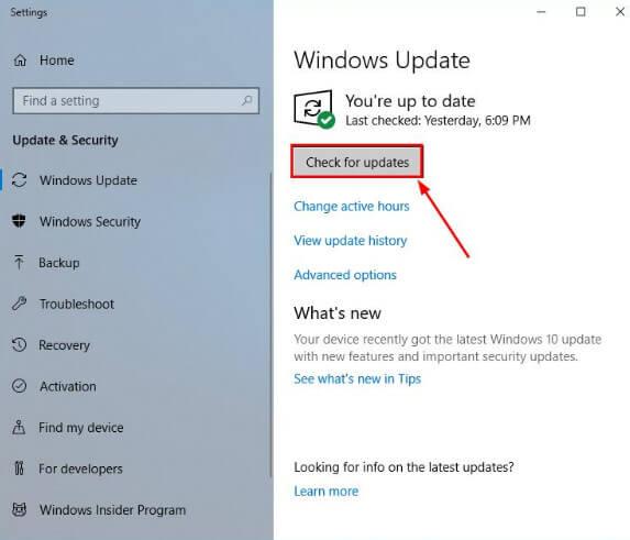 Nhập và chọn tính năng check for updates