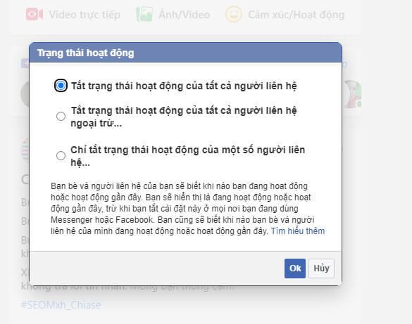 Các tùy chọn tắt online trên Facebook